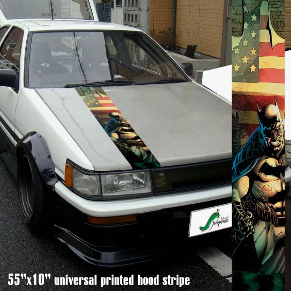 "55"" Hood Printed Bruce Wayne Dark Knight USA Flag Arkham Gotham Car Vinyl Sticker Decal>"