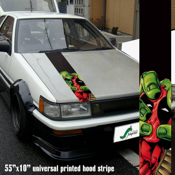 "55"" Hood Printed Stripe Wade Wilson Bruce Banner Weapon X Badass Superhero Comic Car Vinyl Sticker Decal>"