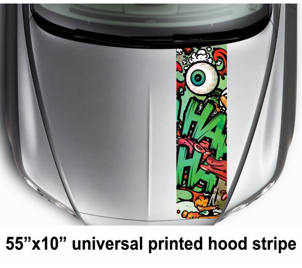 "55"" Hood Printed Stripe Hahaha Joker Harley Quinn DC Suicide Squad Car Vinyl Sticker Decal"