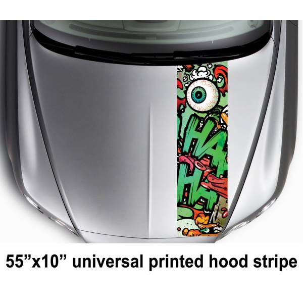 "55"" Hood Printed Stripe Hahaha Hahaha Why So Serious Daddys Lil Monster Puddin  Suicide Squad Car Vinyl Sticker Decal#Joker#Harley Quinn"