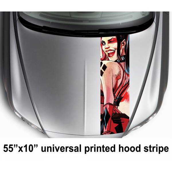 "55"" Hood Printed Stripe Harley Quinn Drawn Bad Suicide Squad Movie DC Car Vinyl Sticker Decal"