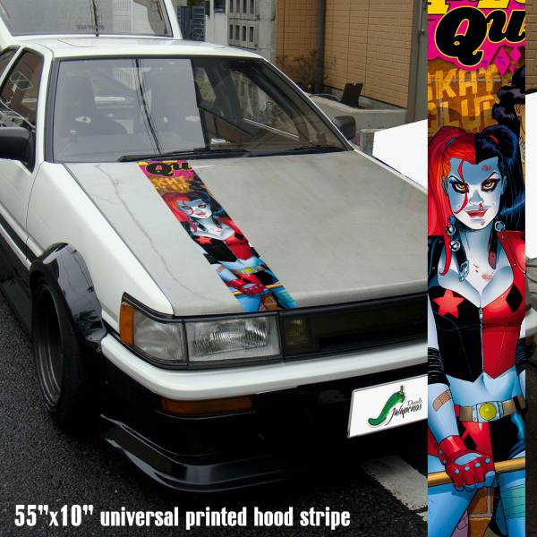 "55"" Hood Printed Stripe Harley Quinn Suicide Squad Good Night DC Arkham Gotham Car Vinyl Sticker Decal"