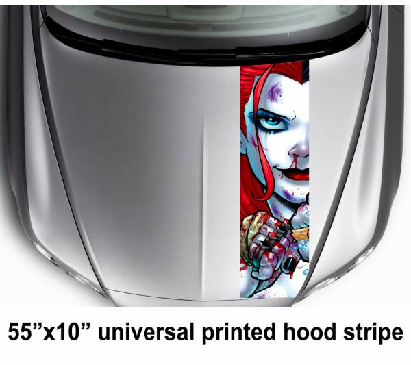 "55"" Hood Printed Stripe Eyes Look Logo Harley Quinn DC Suicide Squad Car Vinyl Sticker Decal"
