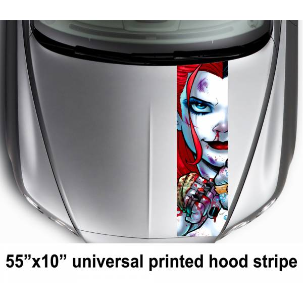 "55"" Hood Printed Stripe Eyes Look  Daddys Lil Monster Puddin  Suicide Squad Car Vinyl Sticker Decal#Harley Quinn"