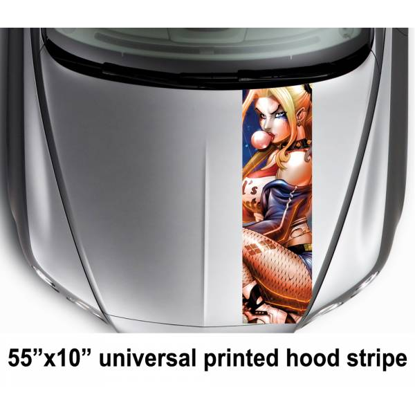 "55"" Hood Printed Stripe Sexy Harley Quinn DC Suicide Squad Car Vinyl Sticker Decal"