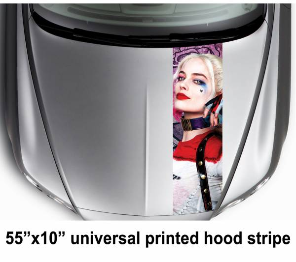 "55"" Hood Printed Stripe Harley Quinn Suicide Squad Movie DC Car Vinyl Sticker Decal"