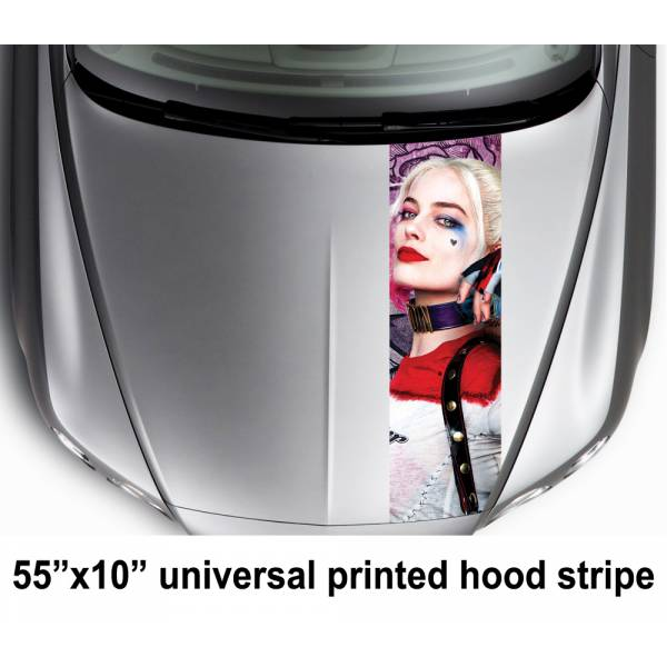 "55"" Hood Printed Stripe Daddys Lil Monster Puddin Suicide Squad Movie  Car Vinyl Sticker Decal#Harley Quinn"