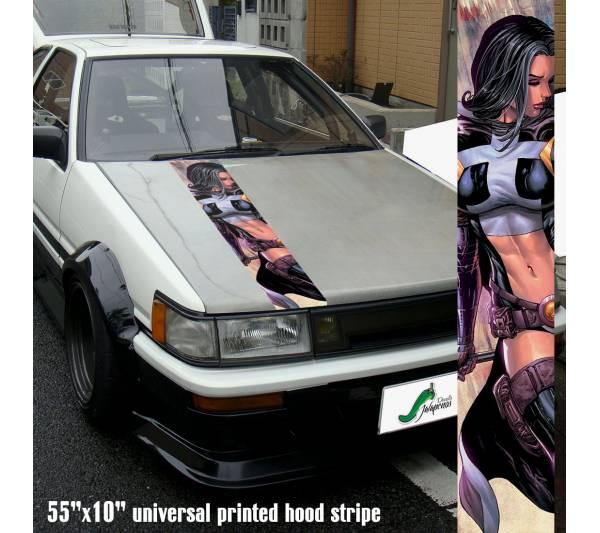 "55"" Hood Printed Stripe Huntress Sexy Girl DC Comics Batman Golden Age Car Vinyl Sticker Decal"