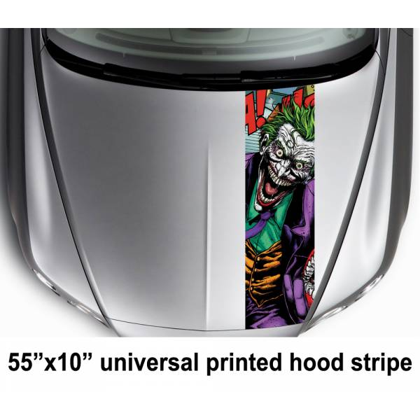 "55"" Hood Printed Stripe Joker Smile Drawn Comics DC Car Vinyl Sticker Decal"