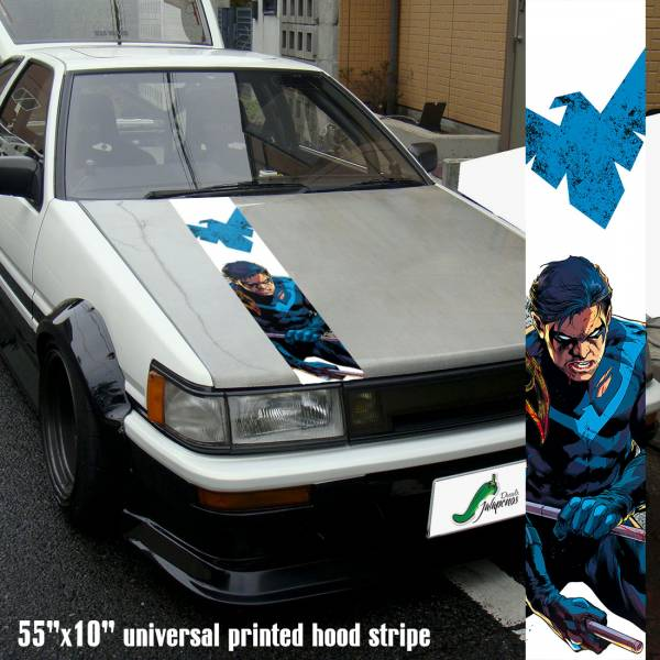"55"" Hood Printed  Superhero  Comics Dick Greyson Car Vinyl Sticker Decal#Nightwing"