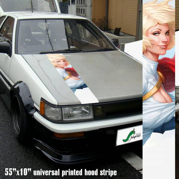 "55"" Hood Printed Stripe Powergirl Sexy Logo Supergirl DC Comics Universe v2 Car Vinyl Sticker Decal"