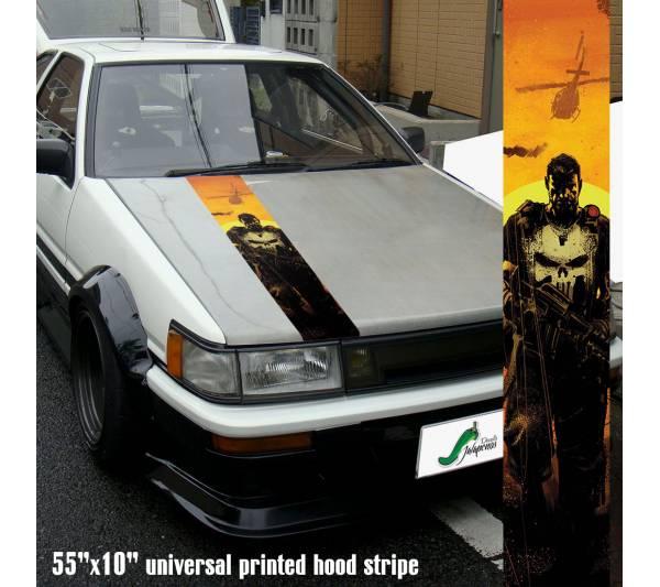 "55"" Hood Printed Stripe Punisher v4 Blood Skull Marvel Comics Marine Corps USA Logo Car Vinyl Sticker Decal"