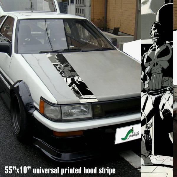 "55"" Hood Printed Stripe Punisher v2 Skull Marvel Comics Marine Corps USA Logo Car Vinyl Sticker Decal"