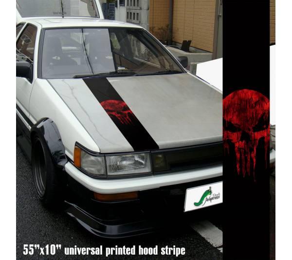 "55"" Hood Printed Stripe Punisher v3 Blood Skull Marvel Comics Marine Corps USA Logo Car Vinyl Sticker Decal"