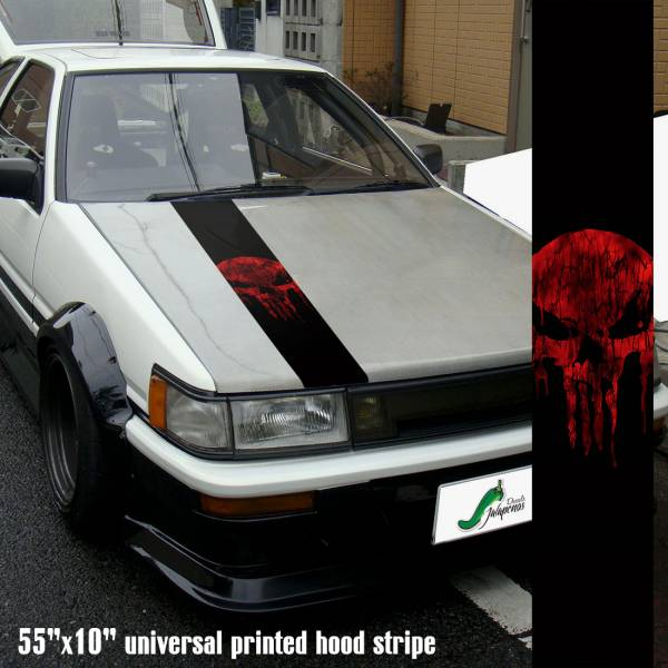"55"" Hood Printed Stripe Punisher v3 Blood Skull Marvel Comics Marine Corps USA Logo Car Vinyl Sticker Decal"