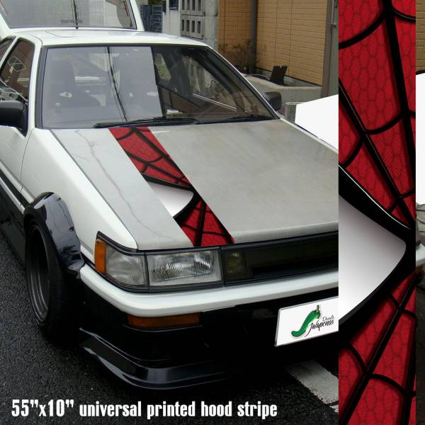"55"" Hood Printed Stripe Spiderman v1 Peter Parker Superhero Amazing Marvel Comics Car Vinyl Sticker Decal"