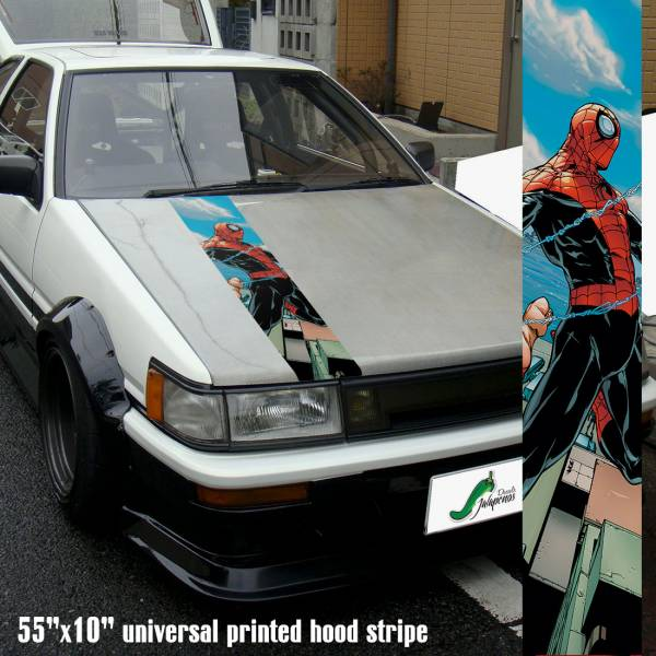 "55"" Hood Printed Stripe Peter Parker v2 Web Superhero Amazing Comic Car Vinyl Sticker Decal>"