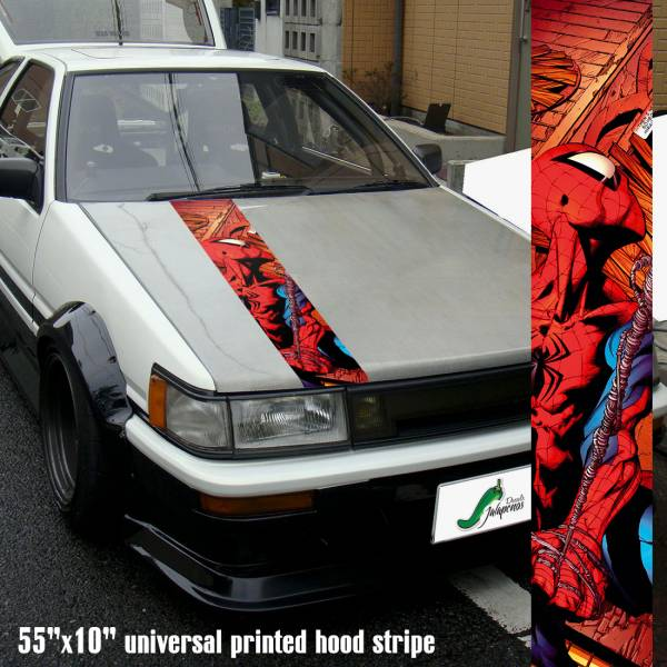 "55"" Hood Printed Stripe Spiderman v3 Peter Parker Superhero Amazing Marvel Comics Car Vinyl Sticker Decal"