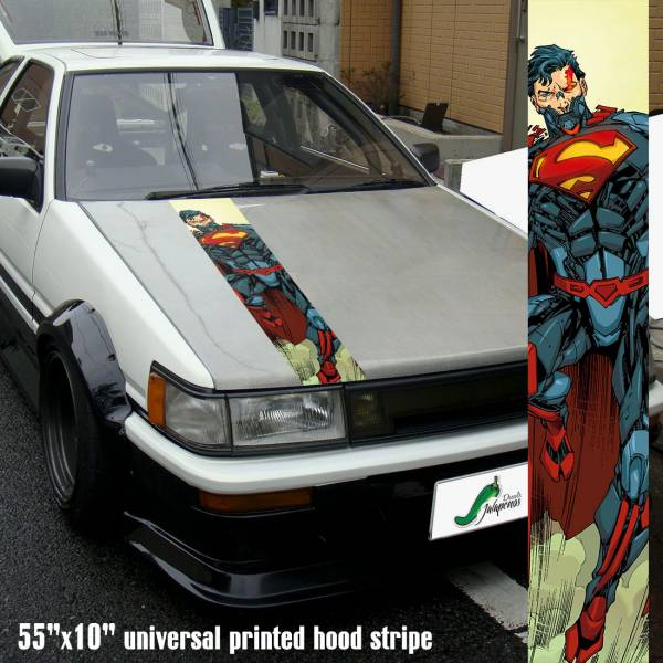 "55"" Hood Printed Stripe Superman Ciborg Alter Logo Clark Kent DC Comics Car Vinyl Sticker Decal"