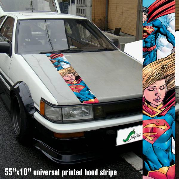 "55"" Hood Printed Stripe Supergirl DC Comics Superman v2 Car Vinyl Sticker Decal"