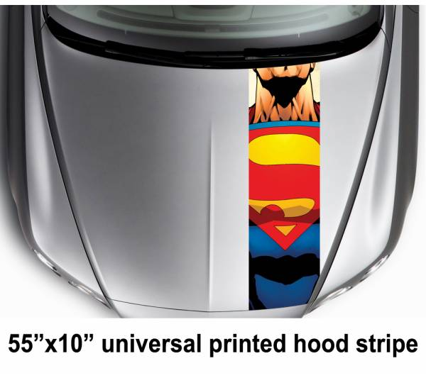 "55"" Hood Printed Stripe Superman Logo Clark Kent DC Car Vinyl Sticker Decal"