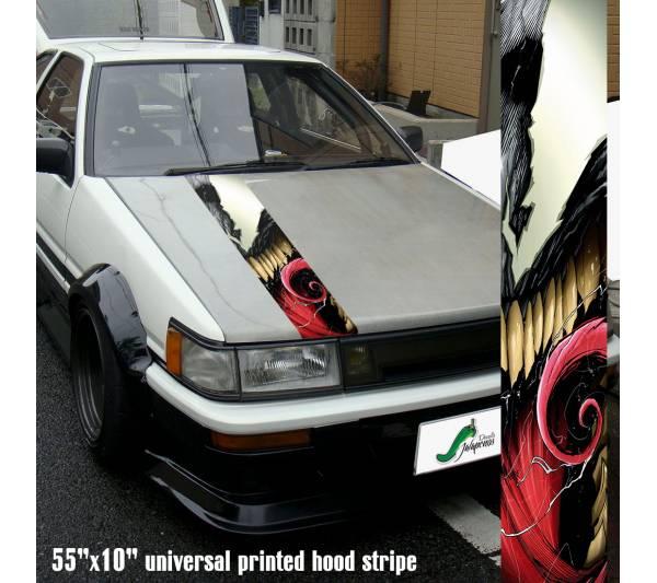 "55"" Hood Printed Stripe Venom Symbiote v3 Amazing Marvel Comics Spiderman Peter Parker Car Vinyl Sticker Decal"