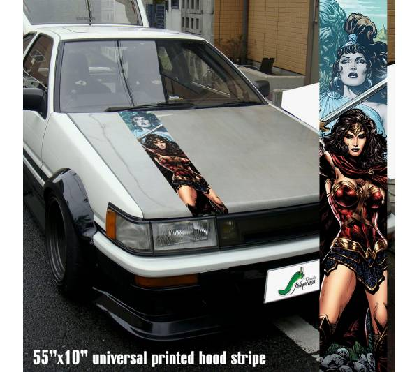 "55"" Hood Printed Stripe Wonder Woman v3 Sexy Lady Driven Girl Car Vinyl Sticker Decal"