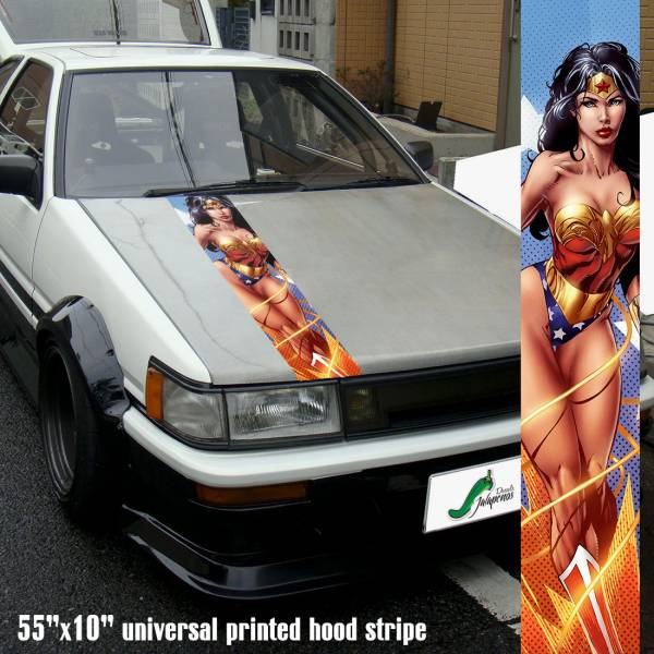 "55"" Hood Printed Stripe Wonder Woman v2 Sexy Lady Driven Girl Car Vinyl Sticker Decal"