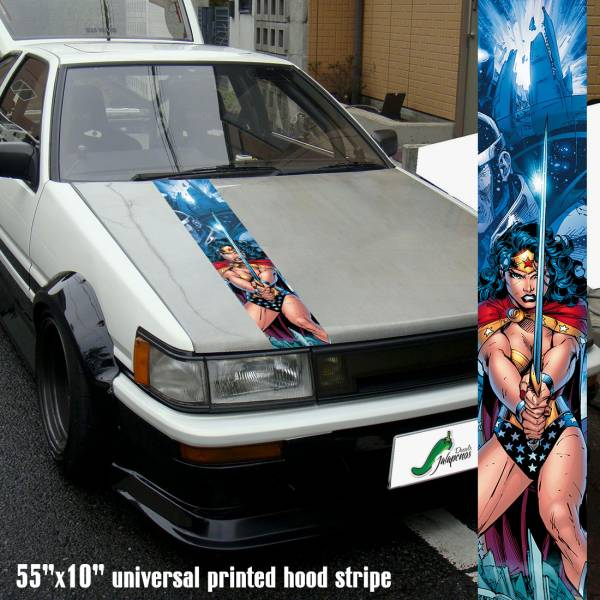 "55"" Hood Printed Stripe Diana Prince Comic Woman Warrior v2 Sexy Lady Driven Girl Car Vinyl Sticker Decal>"