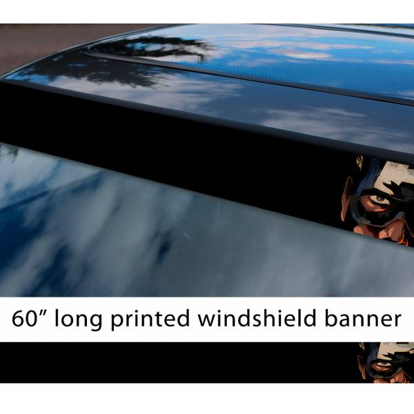 "60"" Captain America Mask Logo Eyes Hydra Marvel Sun Strip Printed Windshield Graphics Vinyl Sticker Decal"