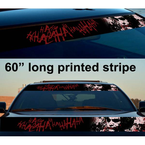 "60"" Joker Classic Hahaha DC Why Seriuos Smile Sun Strip Printed Windshield Car Vinyl Sticker Decal"