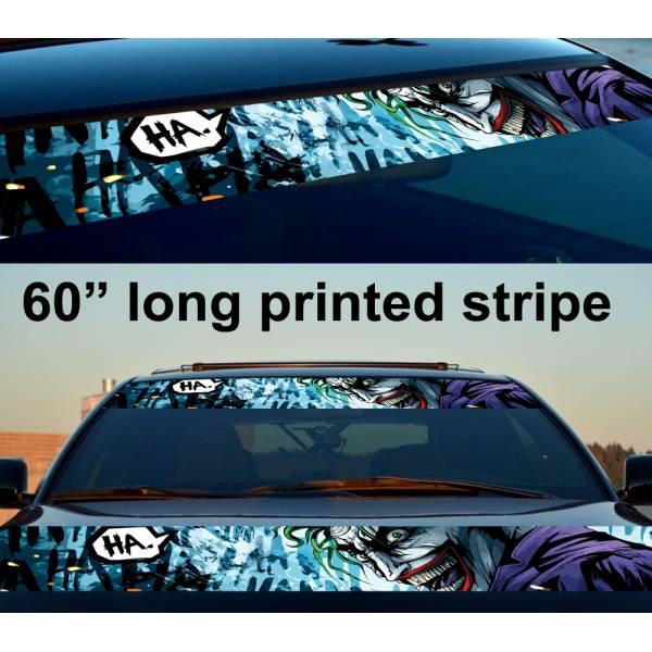 "60"" Joker Drawn Hahaha DC Why Seriuos Smile Sun Strip Printed Windshield Car Vinyl Sticker Decal"