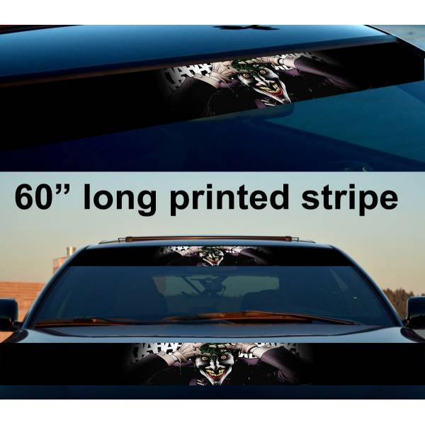 "60"" Hahaha Why So Serious Injustice Supervillain Insane Smile Comic Sun Strip Printed Windshield Car Vinyl Sticker Decal>"