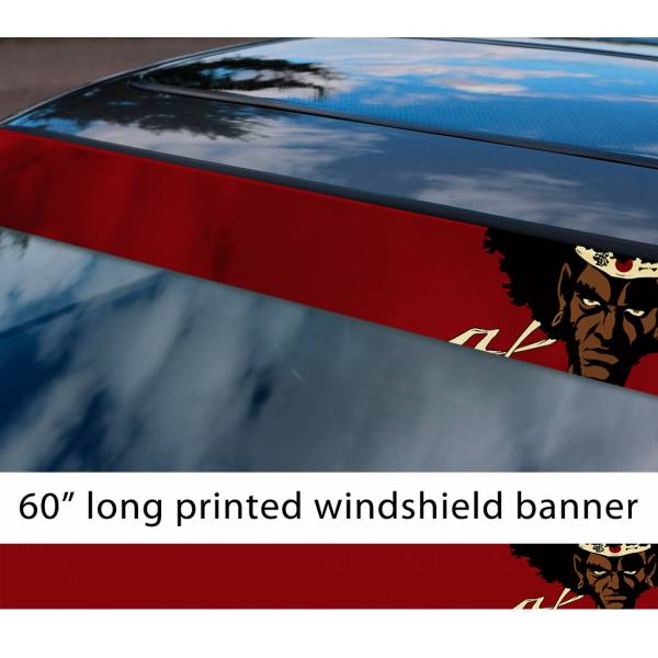 "60"" Afro Samurai v2 Rokutaro Number 1 2 Justice Anime Manga Sun Strip Printed Windshield Car Vinyl Sticker Decal>"
