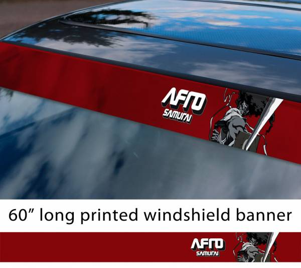 "60"" Afro Samurai v3 Rokutaro Number 1 2 Justice Anime Manga Sun Strip Printed Windshield Car Vinyl Sticker Decal"
