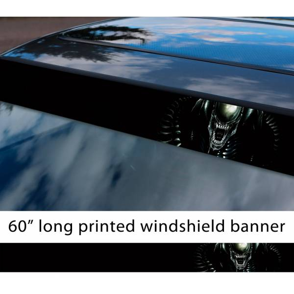 "60"" Alien v1 Monster Xenomorph Nostromo Ripley Mother Movie Predator Sun Strip Printed Windshield Car Vinyl Sticker Decal"