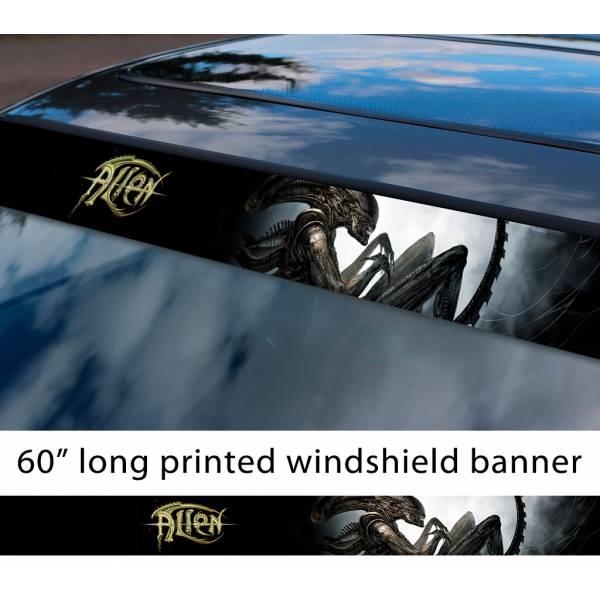 "60"" Alien v2 Monster Xenomorph Nostromo Ripley Mother Movie Predator Sun Strip Printed Windshield Car Vinyl Sticker Decal"