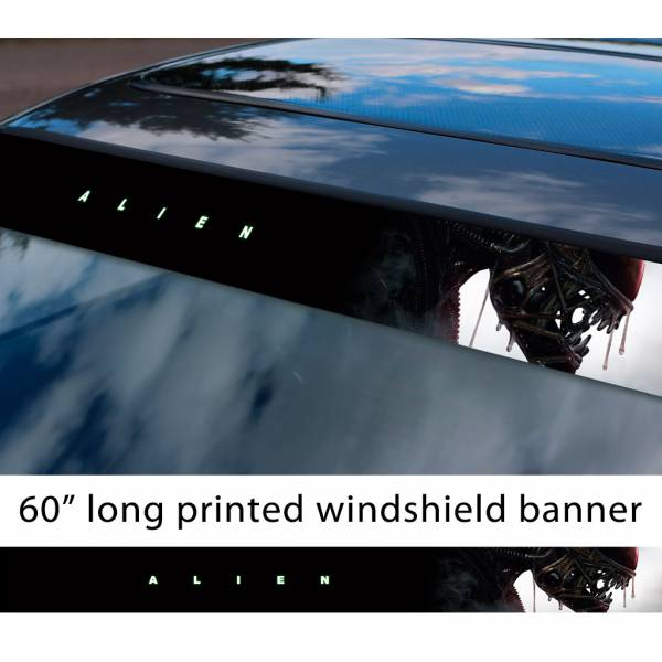 "60"" Alien v3 Monster Xenomorph Nostromo Ripley Mother Movie Predator Sun Strip Printed Windshield Car Vinyl Sticker Decal"