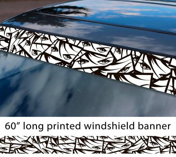 "60"" All Aspects Eyes Girl v1 JDM Event Stance Printed Sun Strip Windshield Banner Car Vinyl Sticker Decal"