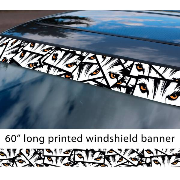 "60"" All Aspects Eyes Wolf v1 JDM Event Stance Printed Sun Strip Windshield Banner Car Vinyl Sticker Decal"