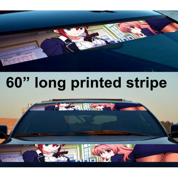 "60"" Sexy Hot Japan Anime Girl v2 Strip Printed Windshield Vinyl Sticker Decal"