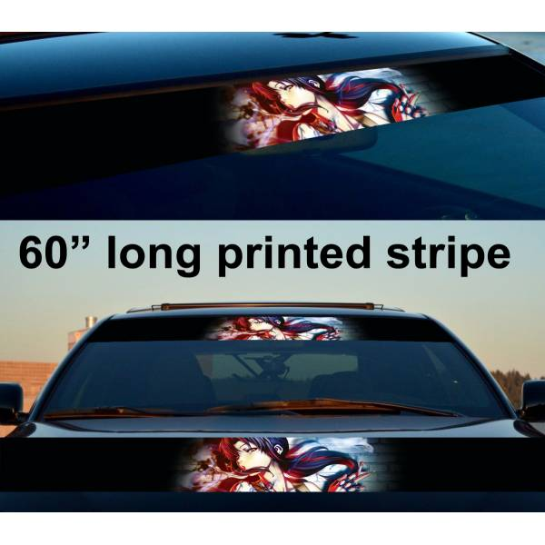 "60"" Black Lagoon Revy Sexy Guns Anime Girl Manga Smoke Sun Strip Printed Windshield Car Vinyl Sticker Decal>"