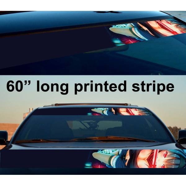 "60"" Sexy Hot Japan Anime Girl Strip Printed Windshield Car Vinyl Sticker Decal>"