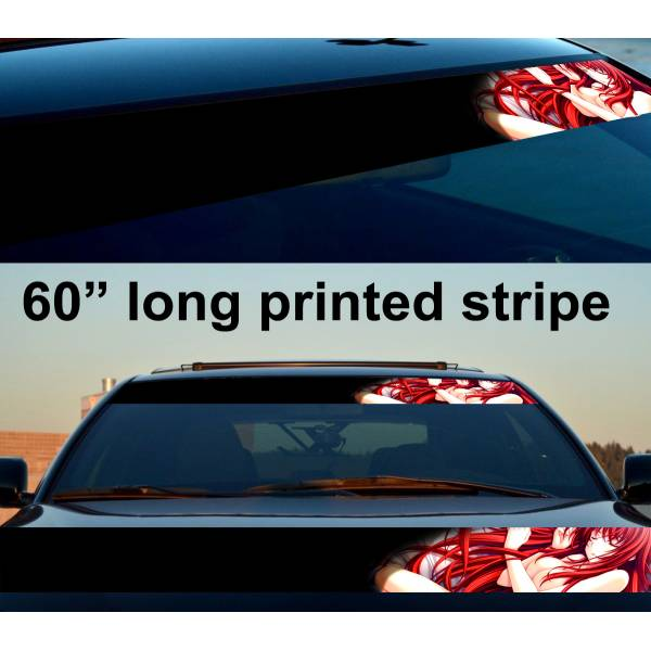 "60"" Sexy Hot Japan Anime Girl v3 Strip Printed Windshield Vinyl Sticker Decal>"