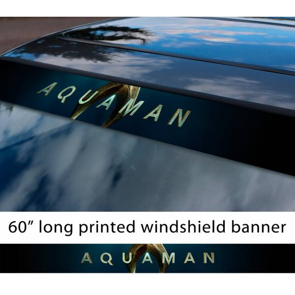 "60"" Aquaman Logo Justice League Movie Superhero Sun Strip Printed Windshield Car Vinyl Sticker Decal"