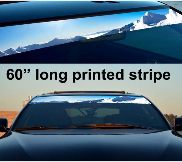 "60"" Mountains Arctic Sun Strip Printed Windshield Graphics Vinyl Sticker Decal"