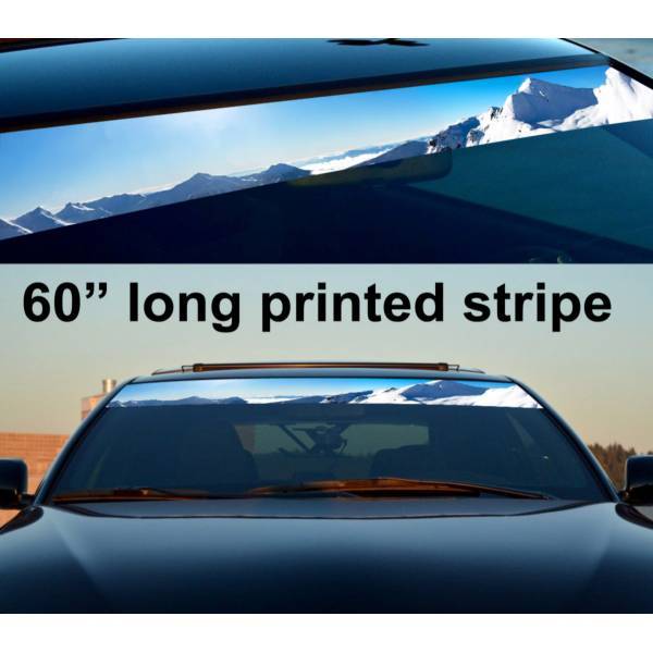 "60"" Mountains Arctic Sun Strip Printed Windshield Graphics Vinyl Sticker Decal"