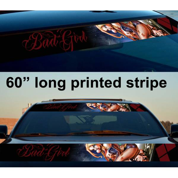 "60"" Daddys Lil Monster Puddin Sexy Bad Girl Rotten Suicide Sun Strip Printed Windshield Car Vinyl Sticker Decal>"