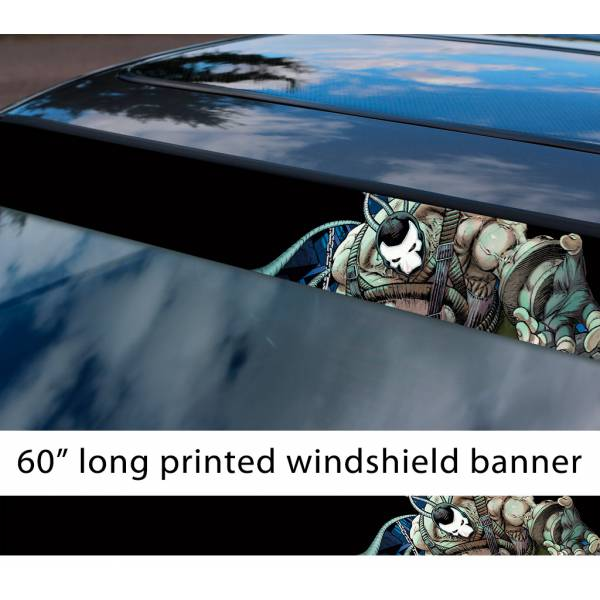 "60"" Bane v2 Bruce Wayne Villain Dark Knight Comic Gotham Superhero Sun Strip Printed Windshield Car Vinyl Sticker Decal>"
