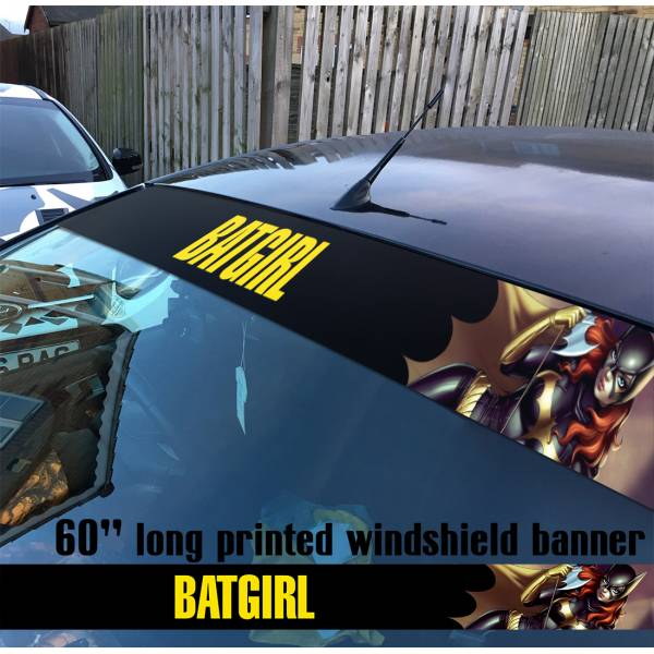 "60"" Batgirl Superheroine DC Comics Sun Strip Printed Windshield Car Vinyl Sticker Decal"